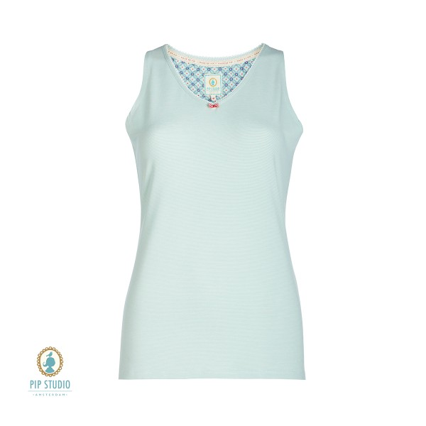 Tessy Stripers Top sleveless - Top mit Mäusezähnchen von Pip Studio in Blue Türkis