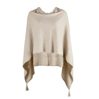 Leichter Poncho in Melange-Optik von Saint Tropez in Latte Melange