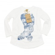 Cooles Langarm-Shirt mit Jeans-Print von Please in Blu Indaco