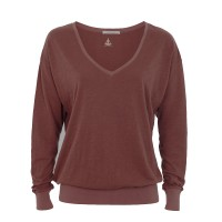 Easy V-Neck Longsleeve von Mandala in Wine
